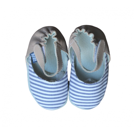 Sapato Retrô Listrado Nude Babo Uabu