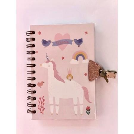 Diário com chave Unicornio