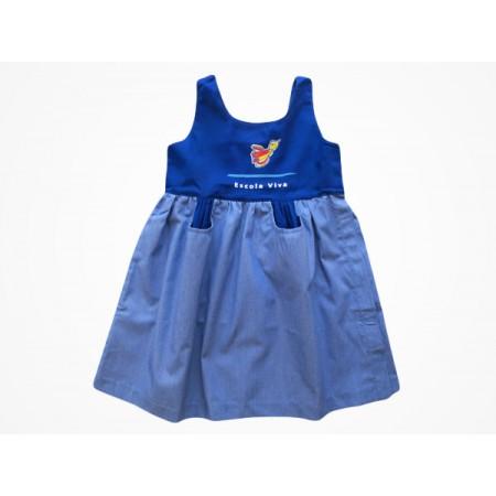 Vestido Brim Escola Viva Infantil Azul