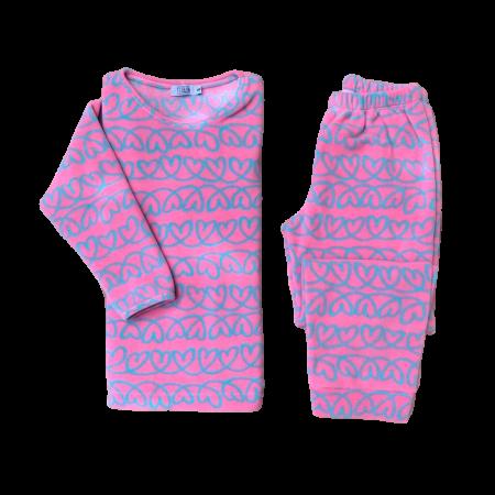 Pijama Microsoft Coração Rosa