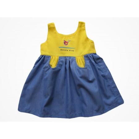 Vestido Brim Escola Viva Infantil Amarelo
