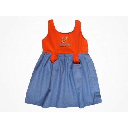 Vestido Brim Escola Viva Infantil Laranja