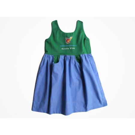 Vestido Brim Escola Viva Infantil Verde