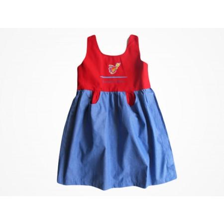 Vestido Brim Escola Viva Infantil Vermelho