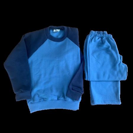 Pijamas de Moletom com Felpa Azul
